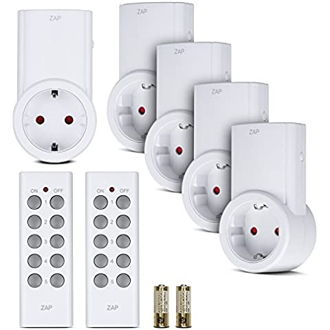 Etekcity® Enchufes Inalámbricos Inteligentes con Control Remoto para Luces y Domótica, (5 Enchufes + 2 Mandos a Distancia), Blanco