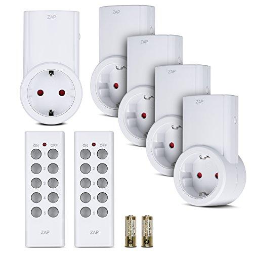 Preisvergleich Produktbild Etekcity Funksteckdosen Set aus 5 x Funksteckdose mit 2 x Fernbedienung, Funkschalt Set Selbstlern-Funktion, 2300 Watt für Licht, Haushaltsgeräte, Reichweite 30m, Weiß