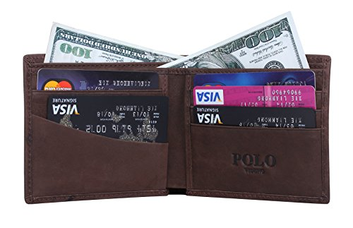 VIDENG POLO Männer verrückte Pferd Leder Beiläufig Stil Horizontale Geldbörse Brieftasche mit Geschenk Paket (W26) W25