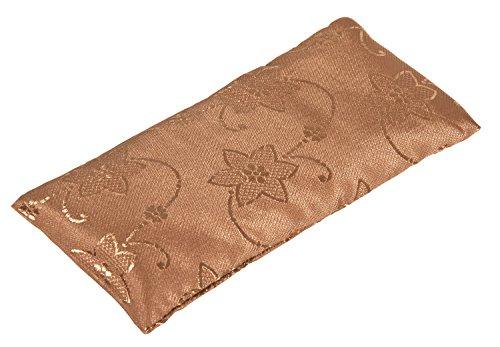 Coussinet pour les yeux - soie classic, 20 x 9.5 x 2 cm - Rembourrage graines de lin - Housse extérieure : 100 % soie, housse intérieure : 100 % coton, marron