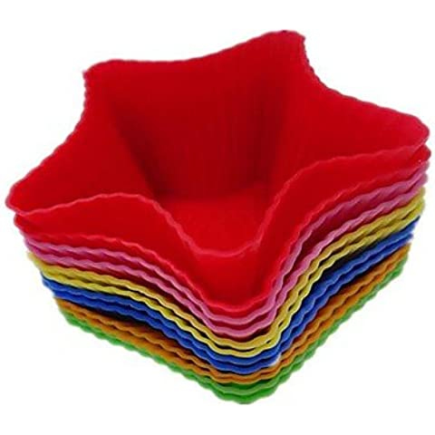 LY&HYL Forma Pentagle stella Cupcake Stampi Mousse Coppe, 12 Pezzi per Set, L 7,3 centimetri x 4,5 centimetri W x H 3,5 centimetri, casuale colori assortiti , Multi Color