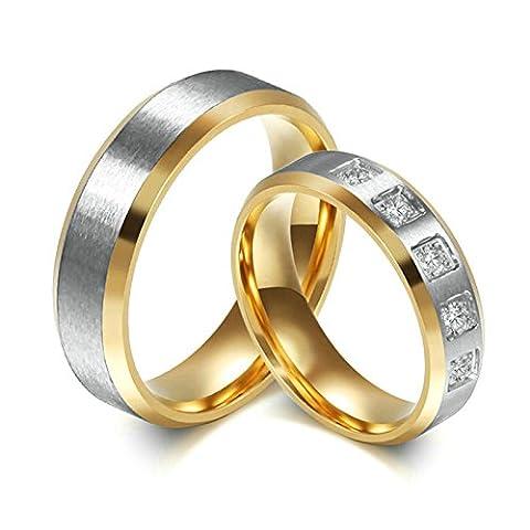 Braut Bräutigam Eheringe Ehefrau Ehemann Jahrstagsringe Edelstahl 1 Paar Ringe Gold Damen 52(16.6) & Herren 62(19.7)