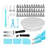 Cake Decorating Kits Supplies 73-in-1 Baking Accessories with Cake Turntable Stands, Cake Tips, Icing Smoother Spatula, Piping Pastry Bags and Decorating Pen Frosting Tools Set Kitchen Utensils