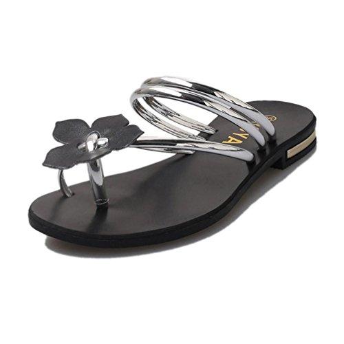 Damen Flip-Flops, Dasongff rauen Flip-Flops Böhmen Sandalen Dame Flower Weave Sandalen Strand Peep-Toe Flip Flops Schuhe Hausschuhe Slipper Zehentrenner (RU/EU/CN 37, Silber) (Strass-mokassin)