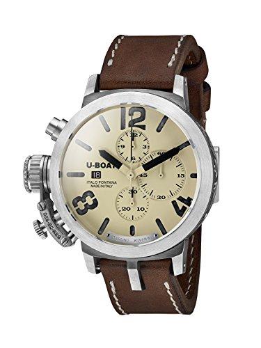 U-Boat Classico 48 CHR 925 BE/BK/A 7452.0 Montre automatique pour homme de avec cadran beige, chronographe et bracelet en cuir marron