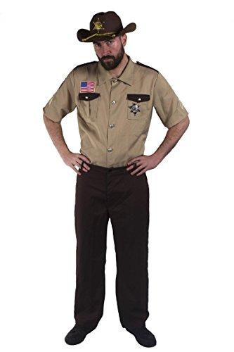 Herren US Sheriff Kostüm-Erwachsene 3Stück Sheriff Kostüm mit Beige Shirt, Kunststoff Sheriff (Badge und braun Hose mit einem elastischen Rücken, erhältlich in 4Größen: S-XL (Rick Grimes Walking Kostüm Dead)