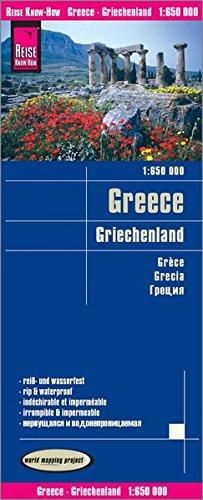 Grecia, mapa impermeable carreteras. Escala 1:650.000