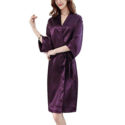 DUJX Dressing Gown Summer Ladies Solid Color Robe Ice Silk Bathrobe Korean Version Of The Thin Bathrobe Mm Pajamas Polyester Fiber (Polyester)