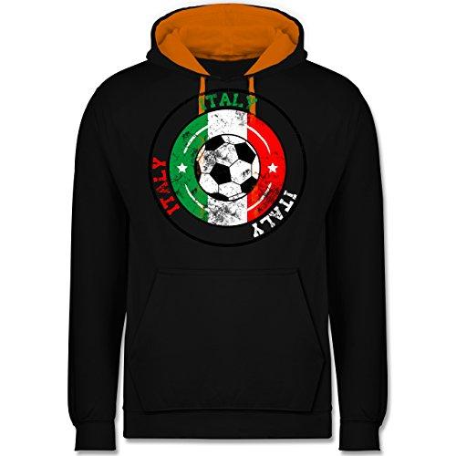 Fußball - Italy Kreis & Fußball Vintage - Kontrast Hoodie Schwarz/Orange