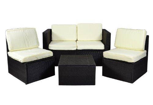 Gartenmöbel 5tlg Set Sitzgruppe Poly Rattan Lounge Garten Garnitur Couch creme