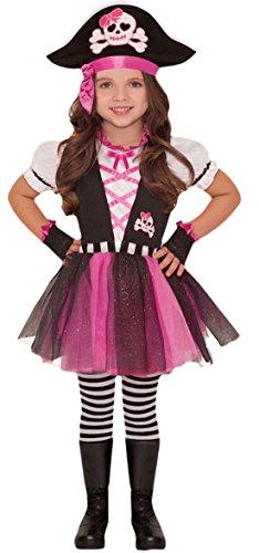 Pirat Marine Kostüm Jack - Halloweenia - Mädchen Piratinnen Kostüm, Karneval, Fasching, Halloween, Pink, Größe 104-116, 4-6 Jahre