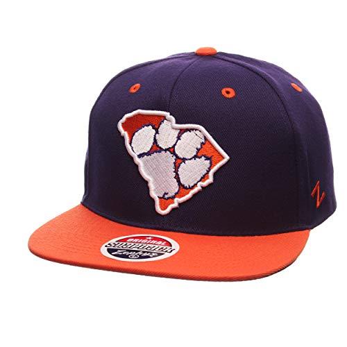Erwachsene 6-panel-cap (ZHATS Z11 Statement 6-Panel Snapback Cap - NCAA Zephyr Flat Bill, One Size Adjustable Baseball Hat, Clemson Tigers)