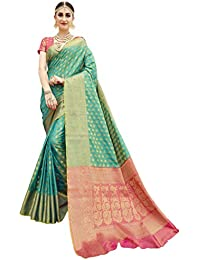 EthnicJunction Silk with Blouse Piece Saree (EJ1178-07977R_Green_Free Size)