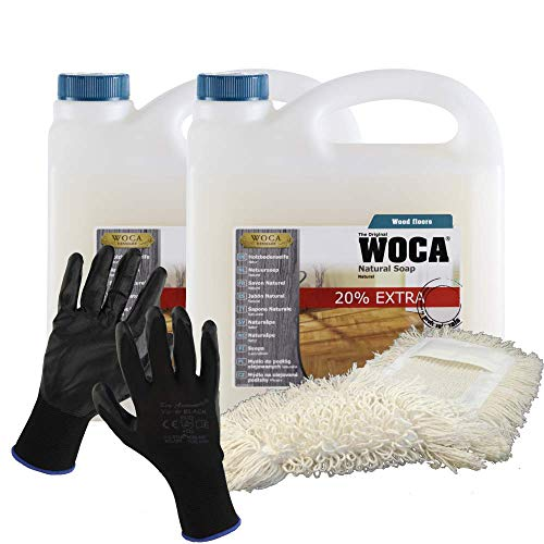 Woca Holzbodenseife Natur 2x3 Liter Aktion - 6 Liter Holzbodenseife inkl. Wischmopp