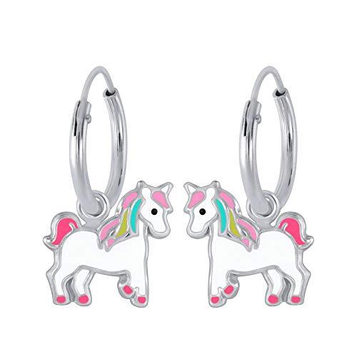 I love silver Jewellery Mädchen-Ohrringe, Einhorn-Design, Sterling-Silber 925, - Creole Kostüm