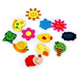 Kuhu Creations® Supreme Fridge Magnet Wooden Stickers In Vivid Color Cute And Beautiful. (Vivid Color Thin Shapes 36 Pcs)