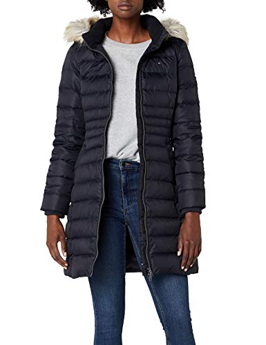 Tommy Jeans Damen Essential Down Langarm Daunenjacke Jacke Schwarz (Black Beauty 003/Dark Blue) Medium