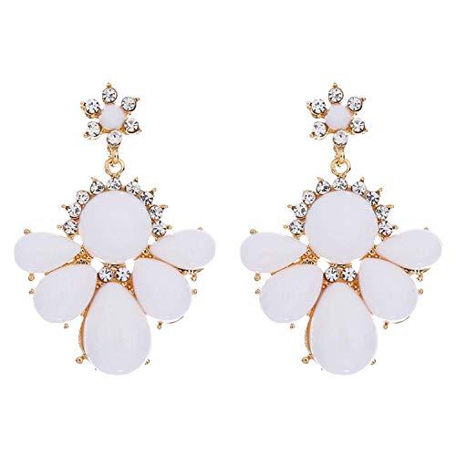 Presock Ohrringe für Frauen, New Fashion Statement Schmuck Ethnische Kleine Frische Weiße Blumen Kristall Tropfen Ohrring Luxuriöse Strass Große Ohrringe Für Frauen