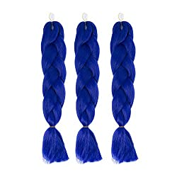 Cxyp 24 Inch Synthetic Braiding Hair 3pcslot Afro Jumbo Braiding Hair Extensions 100gpc Kanekalon Fiber For Twist Braiding Hair (Sapphire Blue)