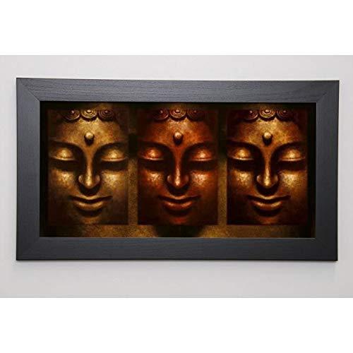 MAHAYANA Image encadrée Buddha in Three Lights 29,7x57 cm Marron