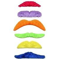 Lot de 6autocollant multicolore 80Moustaches de déguisement