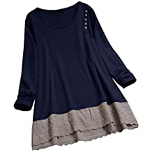 4ce6222f3ec66 Paolian T-Shirt Femme Grande Taille en Coton et Lin surpiqué Jupe en  Dentelle à