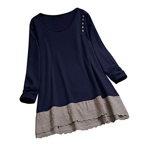316e44867ed4 Womens Lace Casual Crew Neck Tunic Tops Long Sleeve Button Loose Blouse T  Shirt Layered Solid