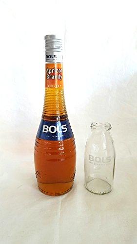 Bols Set – Bols Apricot Brandy Likör 70cl (21% Vol) + Bols Cocktailglas / Flasche (kein Deckel) geeicht 2cl/4cl