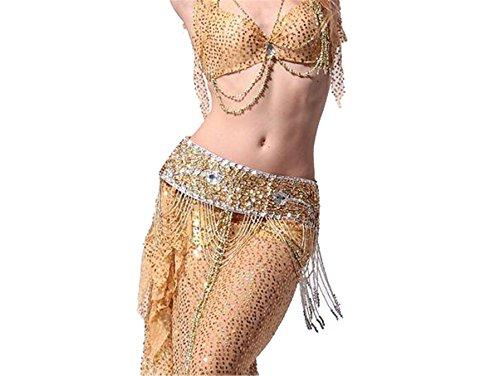 Danse du ventre costume Foulard Ceinture Hip écharpe jupe With Sequins Beaded Tassels Costume Waistband yellow