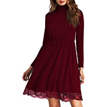 Clearlove Women's Basic Casual Party Turtleneck Dress