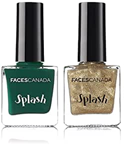 Faces Splash Nail Enamel, All That Glitters 22, 8 ml & Faces Canada Splash Nail Enamel, Tropical Green 59, 8 ml