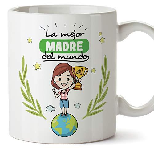 MUGFFINS Madre Tazas Originales de café y Desayuno para Regalar a Mama - La Mejor Madre del Mundo - Cerámica 350 ml