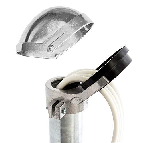 PremiumX SAT Aluminium Mastkappe mit Kabeldurchführung für Dachsparrenhalter Wandhalter Mast Durchmesser 48-52mm ALU - Aluminium 48