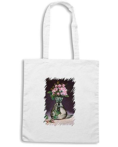 T-Shirtshock - Borsa Shopping TDA0015 manet174 vaso di rose Bianco