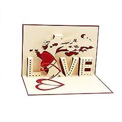 Idea Regalo - 3D Love pop up biglietto e busta–Romantico unico pop up biglietti di auguri per compleanno, Natale, Capodanno, anniversari, san Valentino, matrimonio, laurea, Thank You. Love Letters i Love you Heart