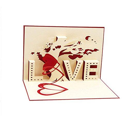 Biglietto pop up floreale 3d - lettere d'amore ti amo cuore - romantici biglietti d'auguri pop-up per compleanni, natale, capodanno, anniversari, san valentino, matrimonio, laurea, ringraziamento.