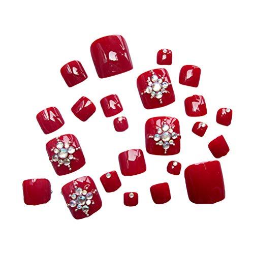 Frcolor 24pcs faux ongles faux ongles avec cristal pour femme (vin rouge)