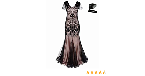 Or Rose Robe 1920 S costumes Great Gatsby robes robe de soirée fête Noël