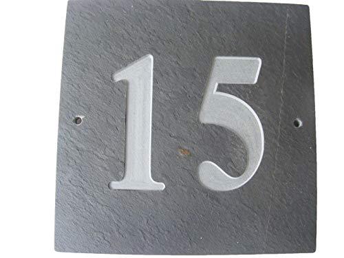 N ° 15 GRIS ARDOISE NATURELLE NUMÉRO DE MAISON 15 x 15 CM PROFONDEUR PLAQUE GRAVÉE DE SURFACE NATURELLES UNE CRÉMAILLÈRE CADEAU (150 x 150 MM