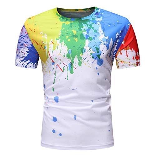 HHyyq Sommerrundhals-T-Shirt Für Männer Mit Tintendruck 3D Blue Ink Farbe, Gemütlich Und Atmungsaktiv Soft Herren Und Damen SportsTragen Prints(Mehrfarbig,XL)