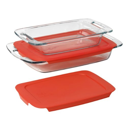 1 Ea Pack (Pyrex Easy Grab 4-Piece Value Pack, includes 1-ea 3-qt Oblong, 2-qtOblong, Red Plastic Covers by World Kitchen (PA))
