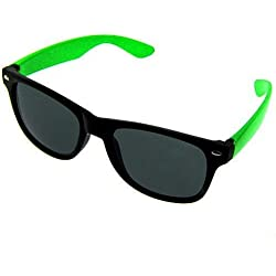 Nerd Sonnenbrille im Wayfarer Design in schwarz/neongrün