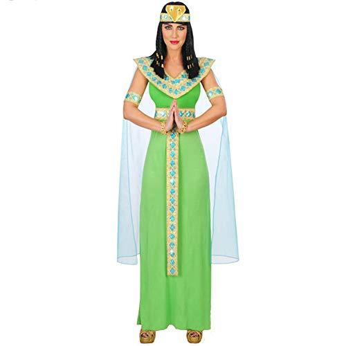 HYGIL Halloween Cosplay Show Kleidung weibliche alte ägyptische Königin Cleopatra Kleid,Green,XL