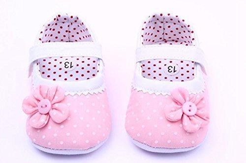 Bigood Ballet-Stil Baby Mädchen Schleife Deko Baumwolle Lauflernschuhe Klettverschluss Pink
