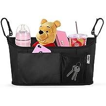 Organizador de cochecito superior de SNHNY; el mejor accesorio de cochecitos; bolsa para pañales universal, bolsa para cochecito segura negro Black Simpler