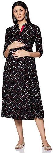 BANAS Women's Printed Empire Midi Maternity Dress (Black)
