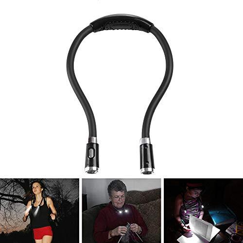 LED Lampe de Lecture de Cou Lampe de Nuit Mains Libres avec 3 Niveaux de Luminosité Réglable 4 LED Flexible Alimenté par 2 AAA Batterie Double Tête pour Livre Lecture Sport Course Activités - Noir