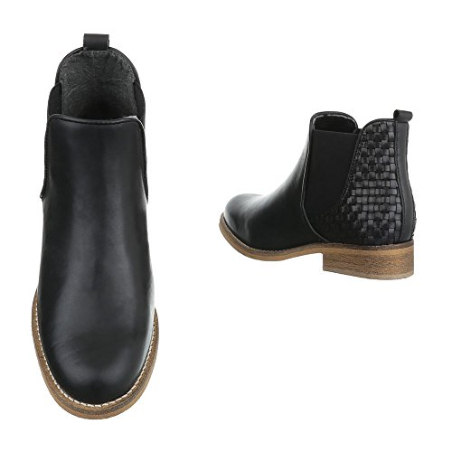 Chelsea Boots Leder Damenschuhe Chelsea Boots Blockabsatz Blockabsatz Ital-Design Stiefeletten Schwarz