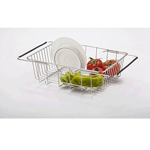 Bainuojia Geschirrabtropfkorb - Abtropfgitter aus Draht - Geschirrständer mit Kunststoffüberzug - Abtropfgestell für Teller und Besteck - Küchenhelfer
