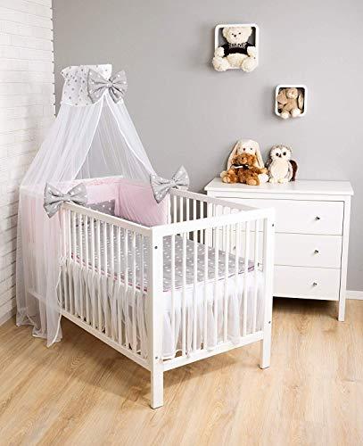 Amilian Baby Bettwäsche 7tlg Set mit Nestchen Kinderbettwäsche 100x135 Himmel Betthimmel Kinder Bettwäsche Babybettwäsche für Baby Stern (A3)/ Sternchen Weiß auf Rosa (Chiffonhimmel)